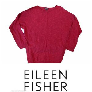 EILEEN FISHER Red Marled Knit Sweater M